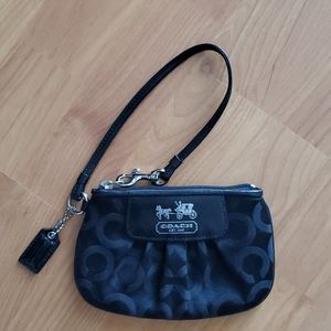 EUC Authentic Coach Wristlet Black